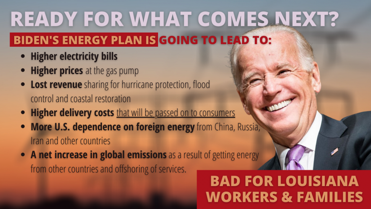 Biden energy plan is bad for Louisiana workers and families