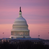 The United States capitol dome at dawn